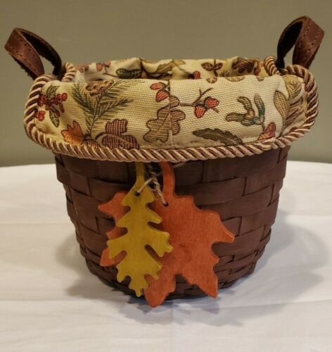 2008 Longaberger Autumn Small Fruit Basket w/ Fall Leaves Tie & Liner RICH BROWN