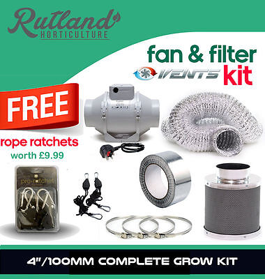"""Full Carbon Filter Fan Kit Extractor 100mm Inline 4"""" Grow Tent Set Hydroponics"""