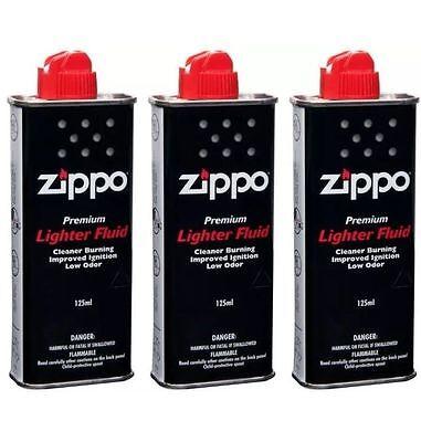 3 x ORIGINAL ZIPPO lighter Petrol Fluid Fuel 125ml Refill Premium