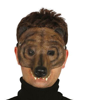 Latex Brown Bear Mask Half Face Beast Cosplay Halloween Costume Furry Role Play - Bear Halloween Face
