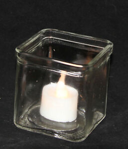 48-LARGE-Square-7-5cm-Cube-Glass-Tealight-Candle-Wedding-Table-Event-Reception