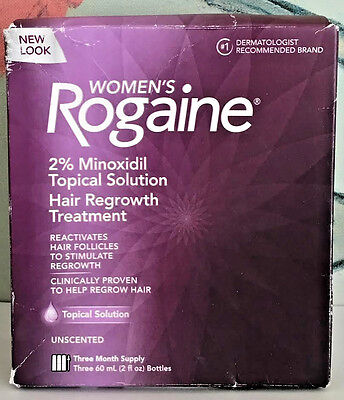 Women's Rogaine 2% Minoxidil Hair Regrowth Treatment 3 Month Supply Exp 2020