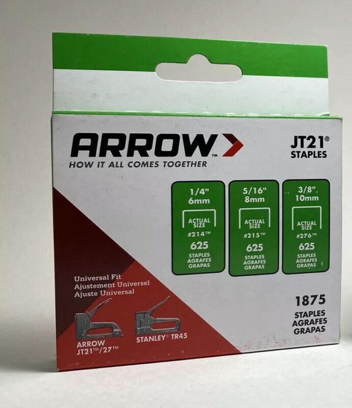 Arrow Fasteners JT21 Staple Gun Staples Variety Box - 1/4, 5/16, & 3/8in