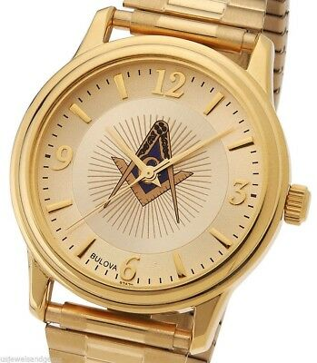 Blue Lodge Masonic Watch (New Men's Gold Finished Bulova Masonic Blue Lodge Watch with Expansion Bracelet )