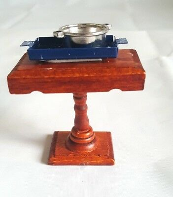 """Melissa and Doug Wooden Table with Blue Tray and Pot Dollhouse Furniture 2.5-3"""""""
