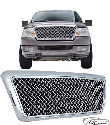 04 08 Ford F150 Chrome Mesh Front Hood Bumper Grille Replacement Grill W/Shell