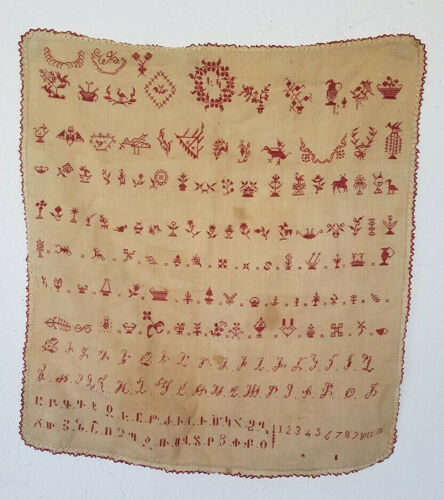Rare NEEDLEWORK SAMPLER Handmade / Stitched + American + ARMENIAN Alphabet