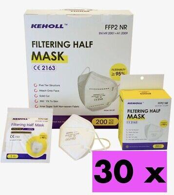 30 X FFP2 Maske Atemschutzmaske Mundschutz CE2163 Zertifiziert Einzel verpackt U