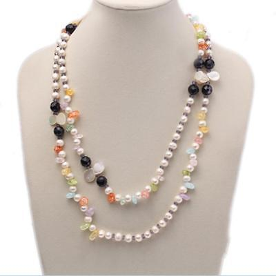 - JYX 8-9mm White Baroque Freshwater Pearl Yellow Crystal Black Agate Necklace 42