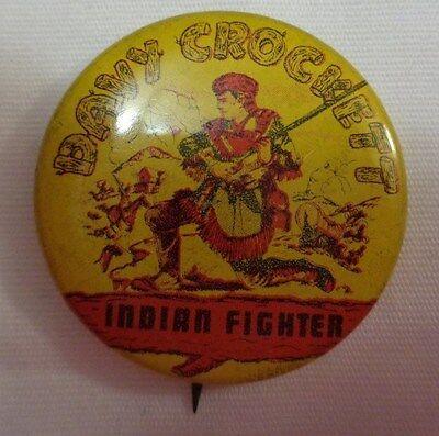 DAVY CROCKETT ~ INDIAN FIGHTER ~ RARE 36mm PIN / pinback VINTAGE 1950's