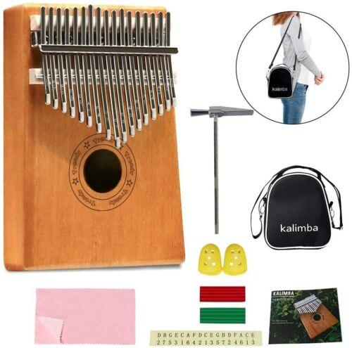 African Kalimba Mahogany Mbira17 key Thumb Piano Beginner Kit With Bag Cloth