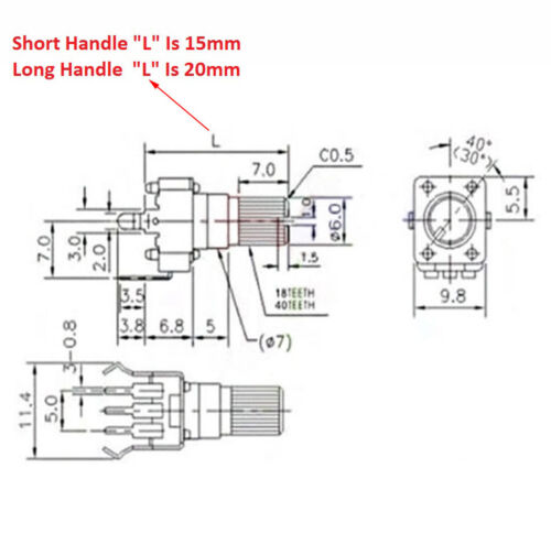 RV09 Potentiometer 1K 5K 10K 50K 100K Vertical Round Shaft Plum Handle 0932 Pot