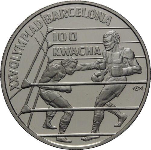 1992 Zambia Large Silver Proof 100 Kwacha-Olympic Boxer
