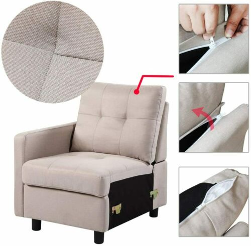 7-Piece Modular Sectional Sofa Modern Living Room Linen Couch With Back Cushion  8