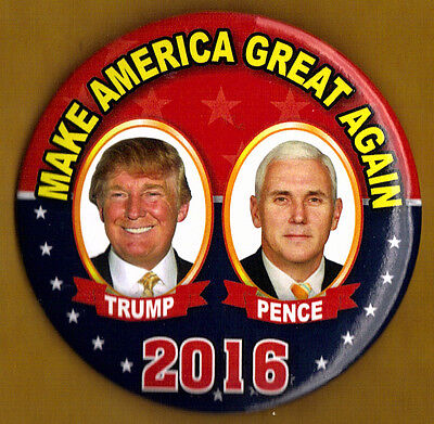 2016 Donald Trump Mike Pence 3  Large Size    Ng Slater Campaign Button Pin 02L