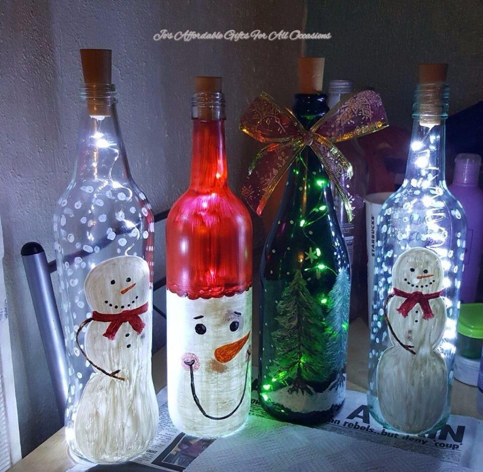 Christmas themed led bottle lamp