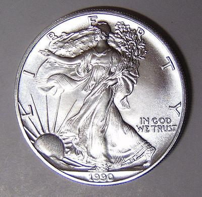 Uncirculated Silver Eagle Dollar Coins - 1990 American Silver Eagle BU 1 oz US $1 Dollar U.S. Mint Brilliant Uncirculated