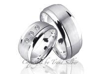2 Trauringe Hochzeitsringe mit 3 Diamanten Gravur Gratis J2-3 Silber 925
