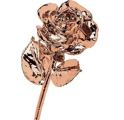 "24K ROSE GOLD DIPPED ROSE Real Long Stem Rose 12"" Long Gift Box Valentine's Day"