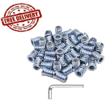 40pcs 14-20 Threaded Inserts Screw In Nut Insert Nutsert For Wood Furniture