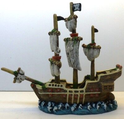SAILING WAR SHIP EB072 AQUARIUM RESIN FISH TANK DECOR HAND PAINTED BEAUTIFUL !!