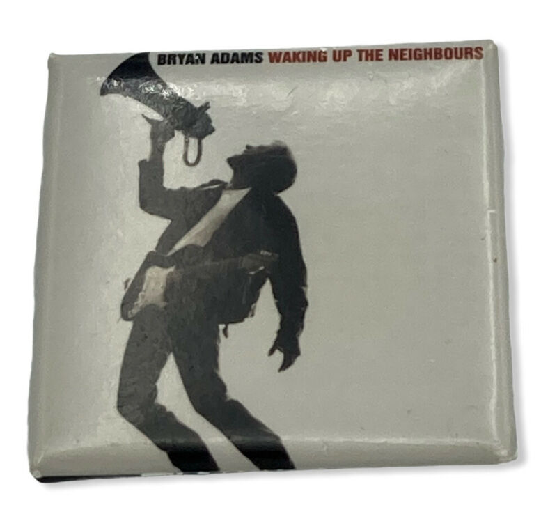 """Vintage 1991 Bryan Adams Up The Neighbours Pinback Button Square 1.5"""""""