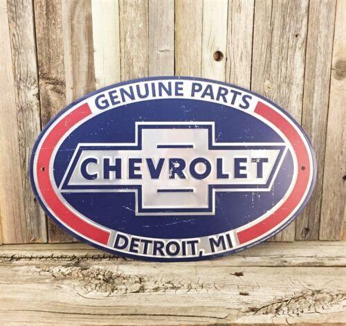 "Chevrolet Chevy Genuine Parts 17.5"" Metal Tin Sign Vintage Garage Man Cave New"