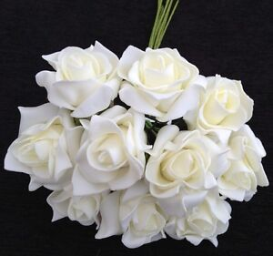 Ivory Foam Roses 4 Bunches10 (40) Wedding Flowers Bride Bridesmaid Buttonholes