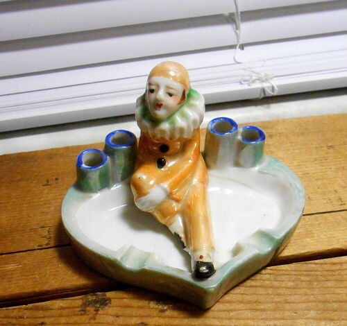 Vintage Harlequin Pierrot Japan Party Ashtray - Lusterware