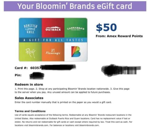 100 PDF Certificate Outback Carrabas Bonefish Flemings Giftcard - FAST SHIPPING - $59.99