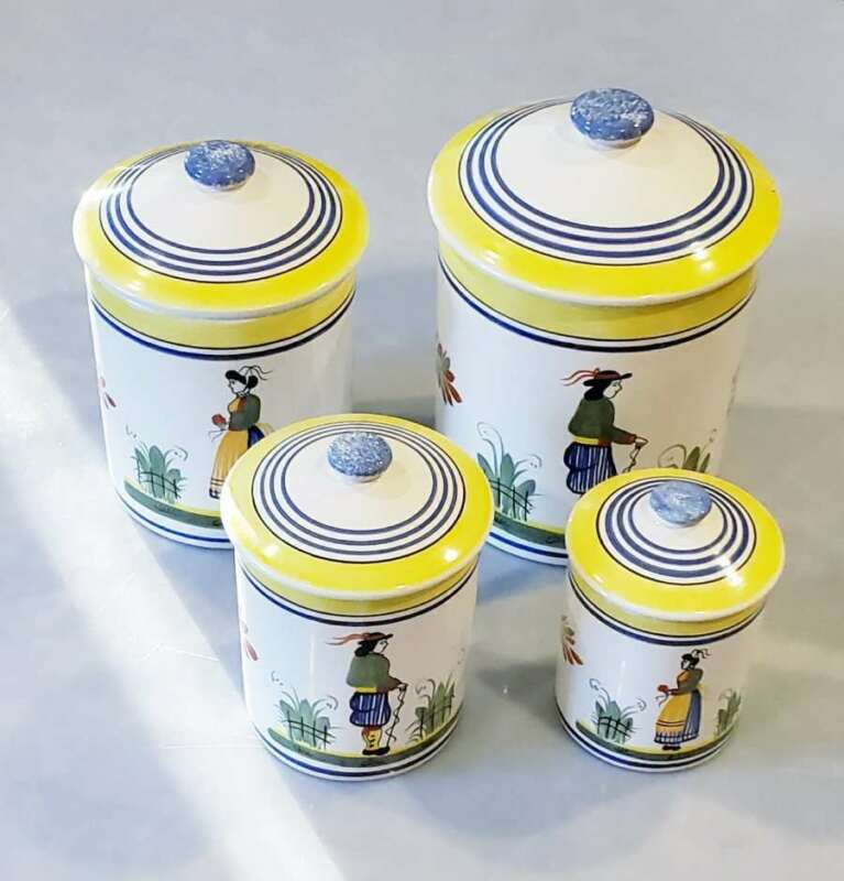 Henriot Quimper French Canister Set 4 Piece Signed Blue Breton Man and Woman