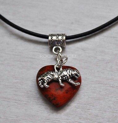 Red Jasper Heart Necklace - Red Jasper Heart & Tiger Pendant Necklace Animal Wildlife Cat Reki Ladies Gift