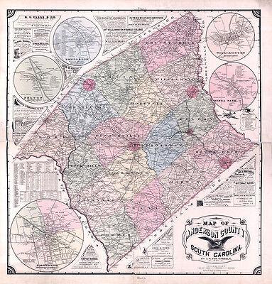 1897 Map of Anderson County South Carolina