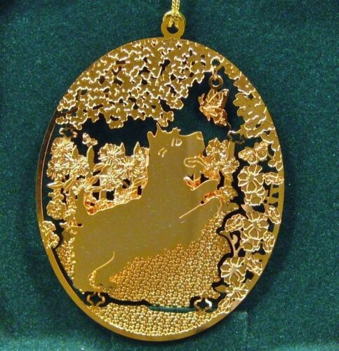 "Cairn Terrier 24k Gold Plated Ornament by Kingsheart Forge NOS 3"" x 2.5"""