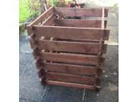 3 x WOODEN COMPOSTERS ( RONSEAL TREATED - DARK OAK ) - NICE BARGAIN.