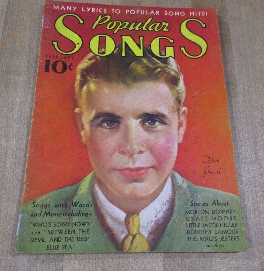 Popular Songs February 1936 Dick Powell Johnny Johnson Jackie Heller Niela Goo  - $7.99