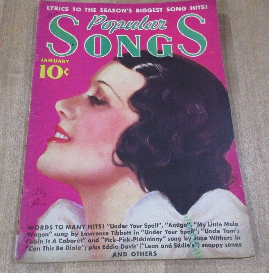 Popular Songs January 1937 Lily Pons Billy Rose Fred Astaire Nelson Eddy  - $7.99