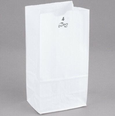 2500 Duro Kraft White Paper Bags #4 LB Donut Food Lunch Grocery Case Commercial