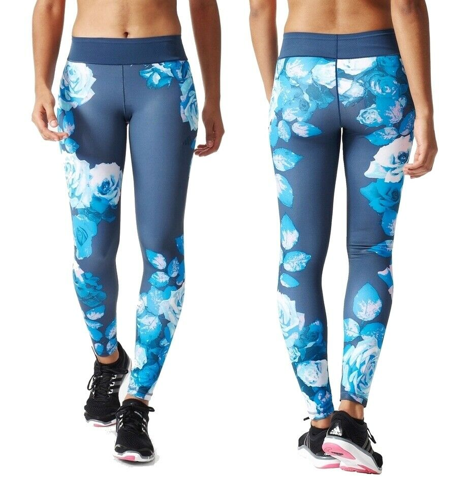 Adidas Fitness Tight Damen Sport Legging Trainingshose Blumen Hose Flower blau