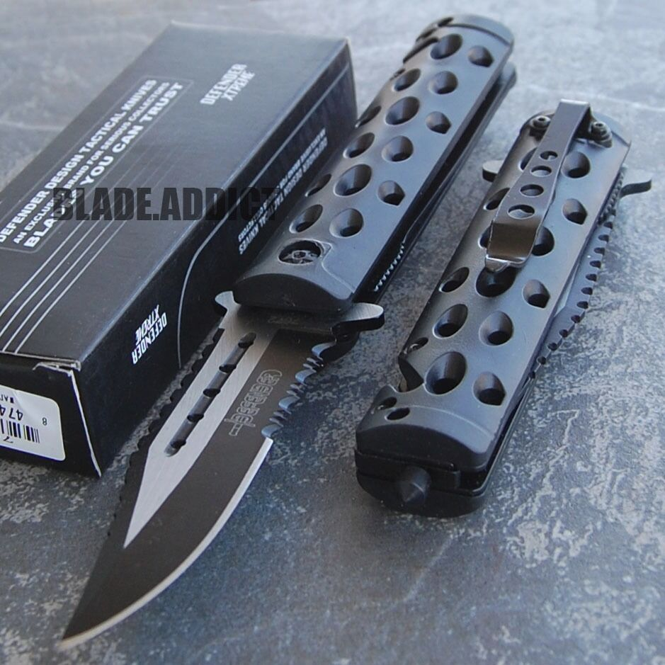 "8.5"" SPRING ASSISTED TACTICAL FOLDING RESCUE POCKET KNIFE Bl"