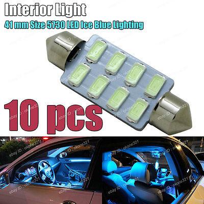 10-pc Aqua Ice Blue 5730 LED 41mm 578 211-2 561 Bulb Interior Map / Dome Light C
