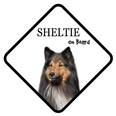 SHELTIE Dog On Board Car Sign With Sucker Sticker Decal