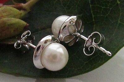 9mm Ohrstecker Ohrringe echt Silber 925 Perlen **6mm Muschelkernperlen** Weiß