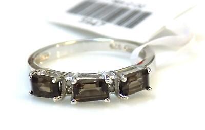 Ring Genuine Smokey Topaz & Diamond 1.021ctw Platinum 925 Sterling Silver Size 7 Smokey Topaz Stone