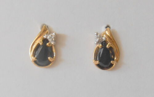Retro 10K Yellow Gold Pear Shape Black Onyx & Diamond Accent Post Earrings