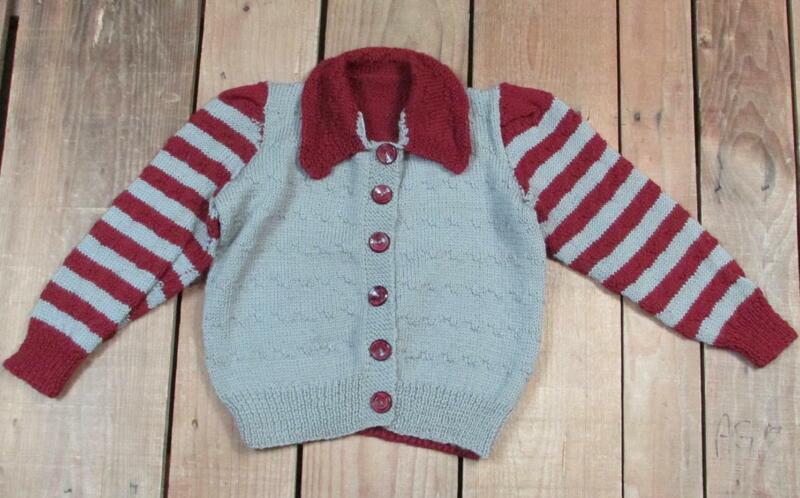 Vintage 1940s Wool Knit Childrens Sweater 2-Tone Stripe Sleeves Bakelite Buttons