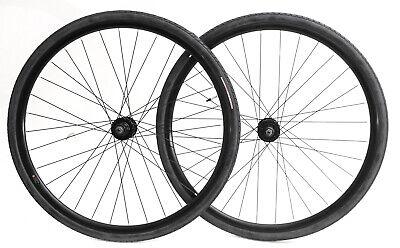 700c Disc Road Hybrid Cyclocross Bike Wheelset + Tires QR 8-
