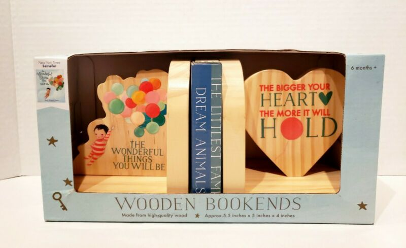 """NEW """"The Wonderful Things You Will Be"""" Wooden Bookends Emily Martin Dream World"""