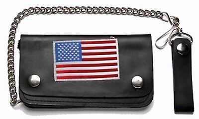 Flag Genuine Leather Chain Wallet - BIKER WALLET GENUINE  LEATHER WITH 12