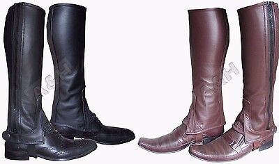 Leather Half Chaps various Sizes Black/Brown Adults/Children Horse Riding New - Chaps Horse